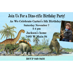 Dinosaur Prehistoric Photo Birthday Party Invitation
