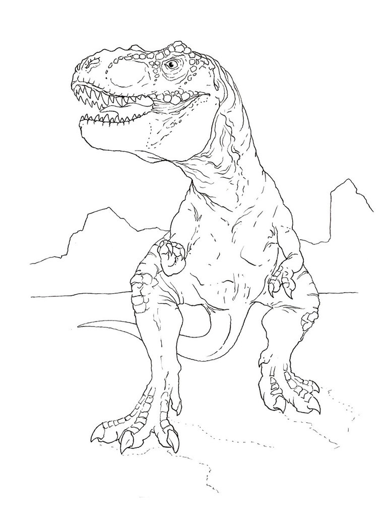 cartoon t-rex coloring pages