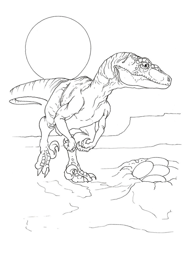 velociraptor printable coloring pages