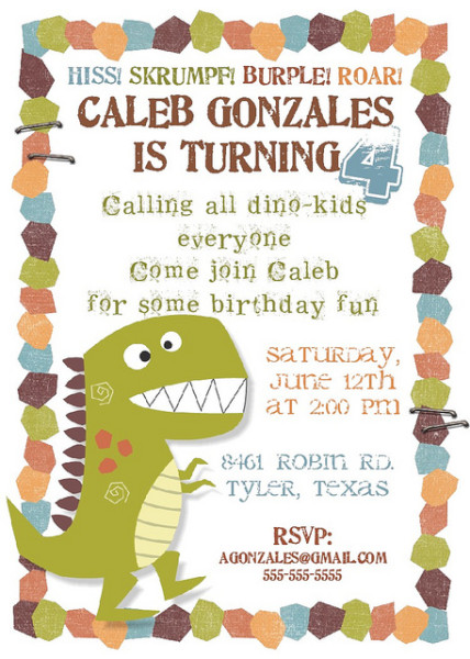 dinosaur birthday invitations free