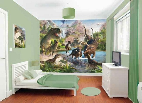 Neutral Color Dinosaur Room Decor