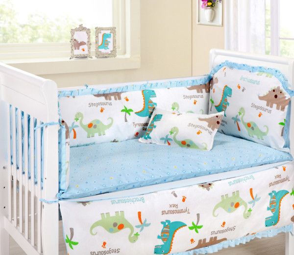 Bright dinosaur nursery bedding