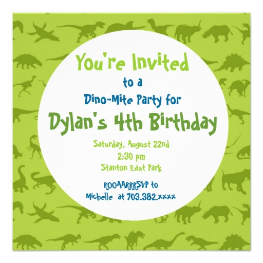 Cute Dinosaur Birthday Party Invitation Templates
