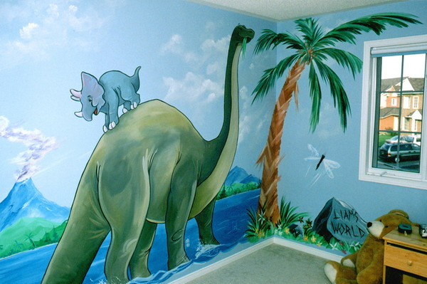 Dinosaur room decor dinosaurs pictures and facts for Dinosaur mural ideas