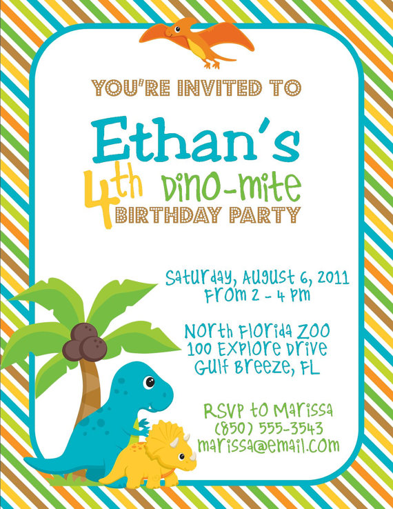 Cute Dinosaur Birthday Party Invitation Templates Printable Pictures