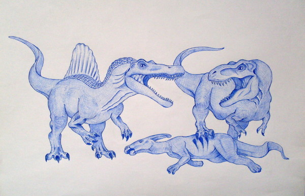 Spinosaurus vs T-Rex by Coloring Pages