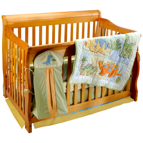 Wooden dinosaur baby bedding