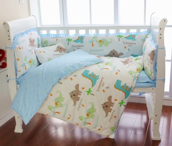 bright dinosaur baby bedding