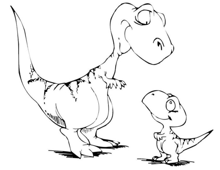 Funny Baby Dinosaur Coloring Pages