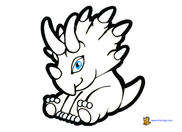 Cool Triceratops Baby Dinosaur Coloring Pages