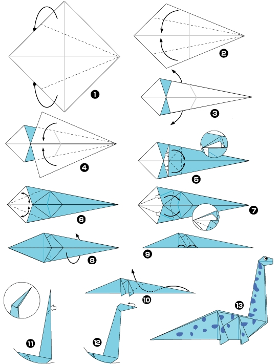 origami dinosaur directions