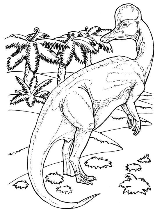 Corythosaurus from Late Cretaceous Period in Dinosaur Coloring Page