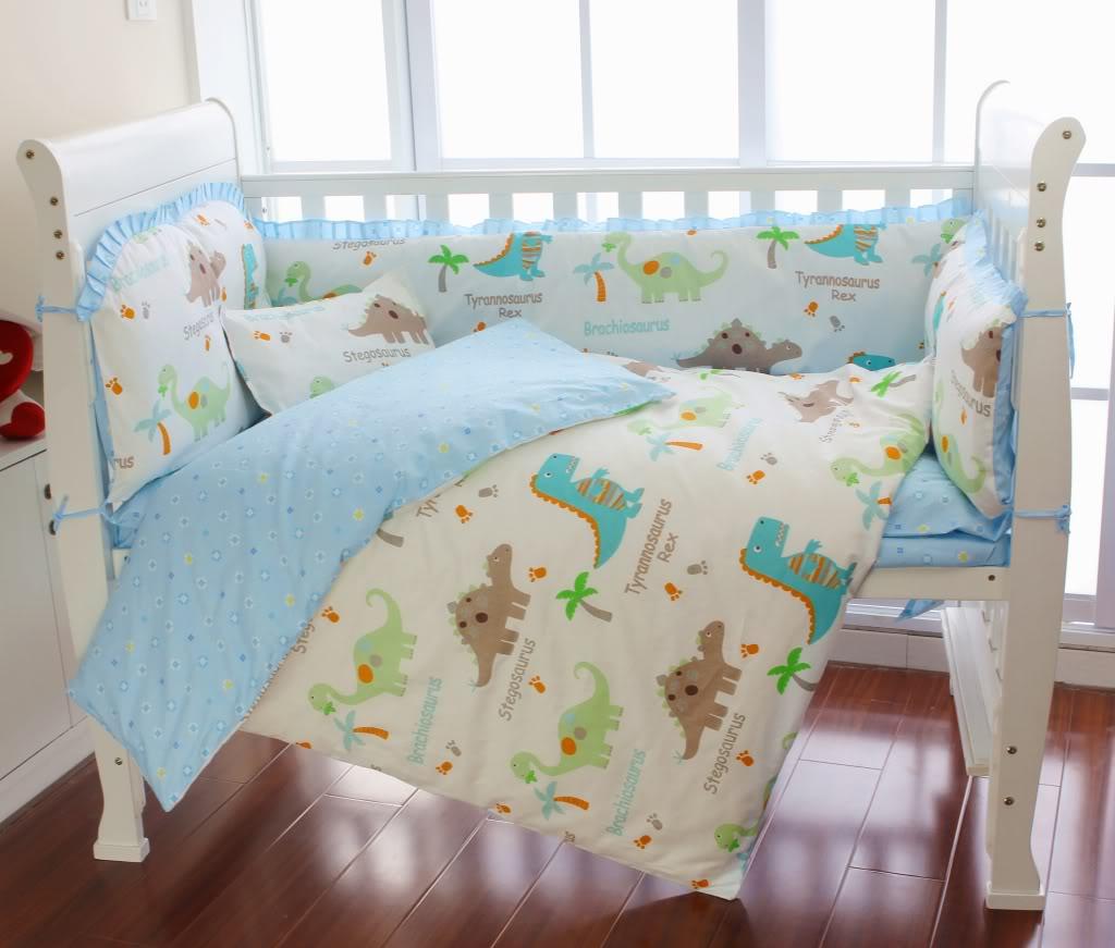 bright dinosaur baby bedding