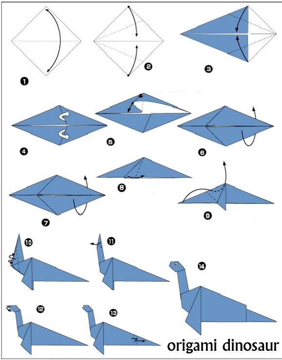 origami dinosaur diagrams