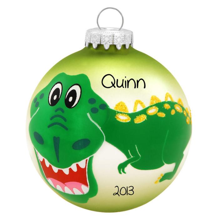 glass dinosaur christmas ornaments