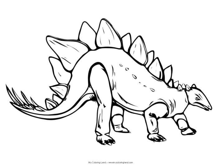Stegosaurus free realistic dinosaur coloring pages
