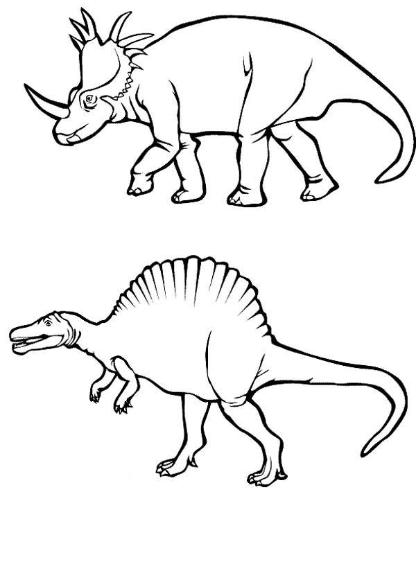 Centrosaurus and Spinosaurus in Dinosaur Coloring Page