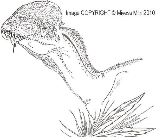 Free Dilophosaurus Dinosaur coloring page
