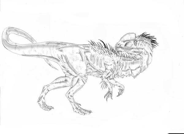 Dilophosaurus dinosaur coloring page